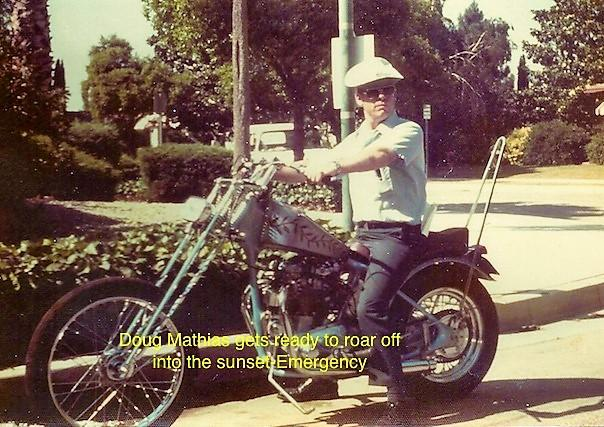 """Doug Mathias on his Harley roars off into the sunset - """"Emergency"""""""