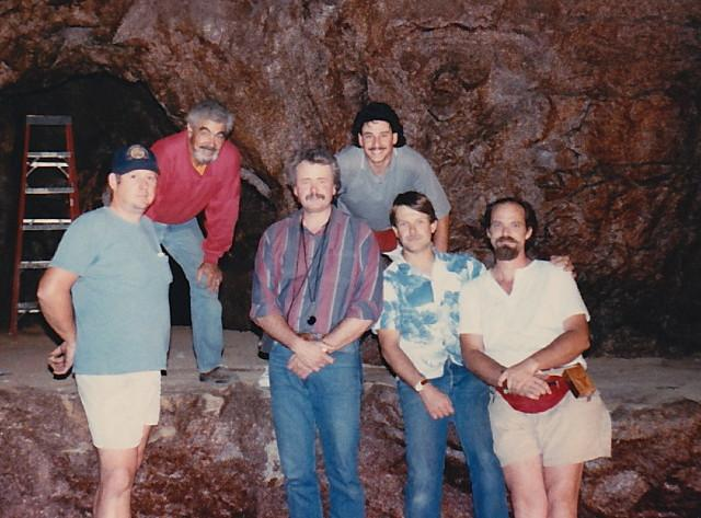 1988 lighting crew: Ed Taylor, unk., Cal Maehl - Gaffer, Scott Williman, Jeff Butters, Lowell Crisp (photo by Cal Maehl)