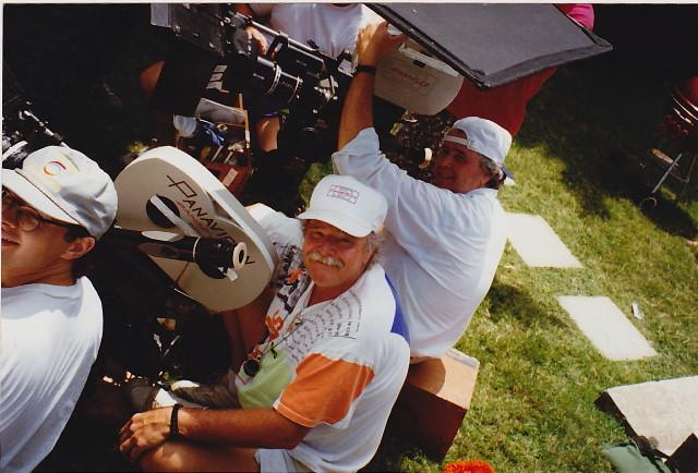 Ross Maehl and Cal Maehl as Gaffer/2nd unit camera operator on a pilot, 1999, (photo contributed by Cal Maehl)