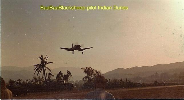 Indian Dunes film set with Vought F4-U Corsair