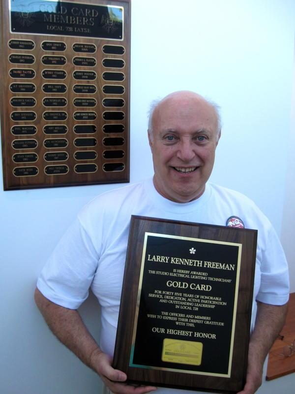 Larry K. Freeman was awarded a Local 728 Gold Card on September 15, 2012