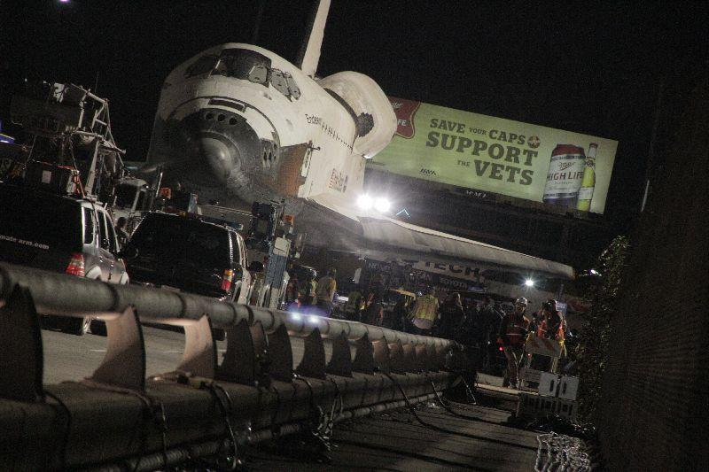 Toyota Tundra towing the space shuttle Endeavour on the Manchester Blvd. bridge at the 405. October 12, 2012