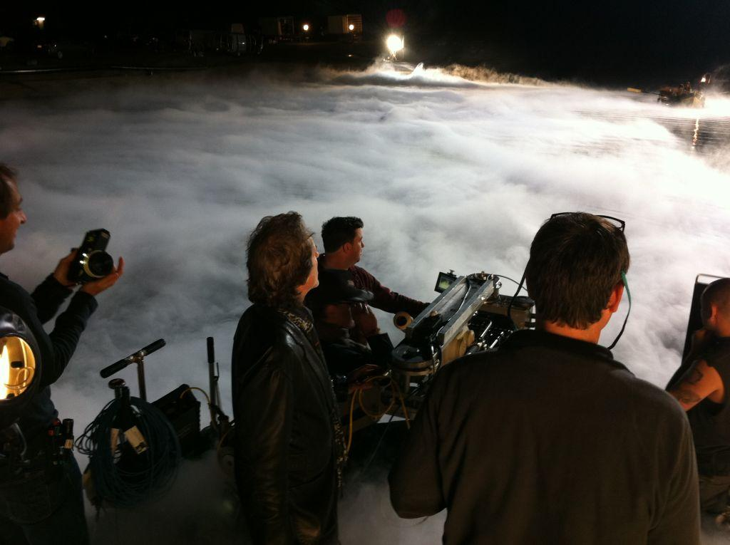 Foggy Falls Lake at Universal in January 2011. Verizon commercial with Janusz Kaminski (Photo by Kelly D. Clear)