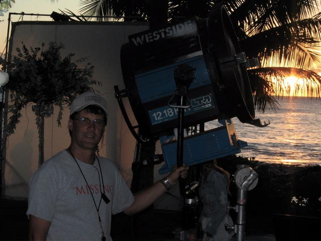 Jeff Murrell CLT, on the Set of You, Me and Dupree at Olina, Oahu, Hawaii. 2005 (Photo by Derek Paulin)