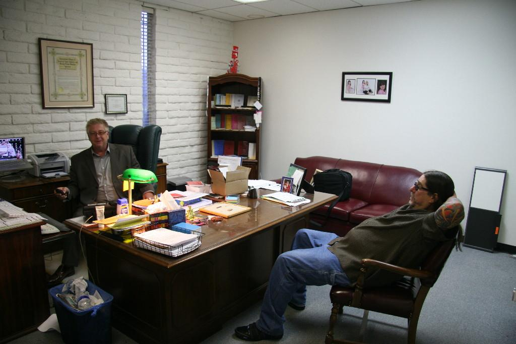 Patric Abaravich in his Nordhoff office with Greg Langham (Photo by Michael Everett)