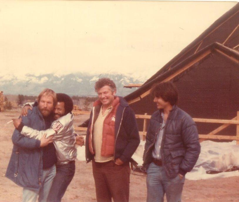 Jerry Posner, Sherman Fulton, Larry Flynn, Kenny Mann, West Glacier, Montana, 1980 (photo contributed by Jerry Posner)