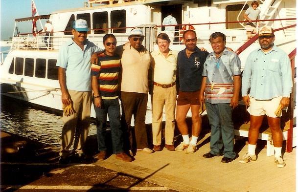 Walter Multerre, Michael Pang, Albert Burns, Doug Mathias, Jim Fine, Joe Ahuna, Neil Waikiki, 1981-1982 (Photo by Doug Mathias)