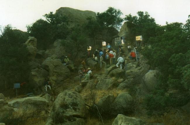Gaffer- Ron McLeish, BB- Doug Mathias, TV Series, Iverson's Ranch, Santa Susana Mountains, 1972 (Photo by Doug Mathias).
