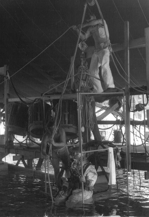 Republic Pictures Studio backlot underwater tank, Mole-Richardson 170 Carbon Arcs on scaffolding, 1951.(Photo by Nelson Mathias)