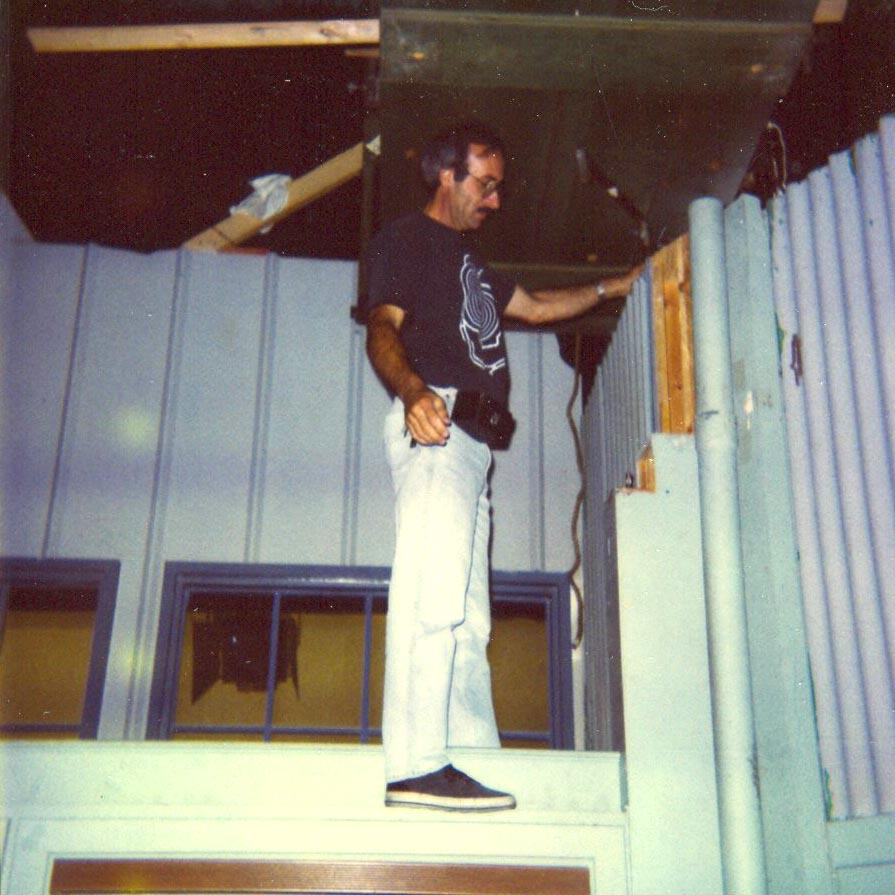 Peter Portizo wall walking in hangar,1992-93 (Photo by Karen Weilacher)