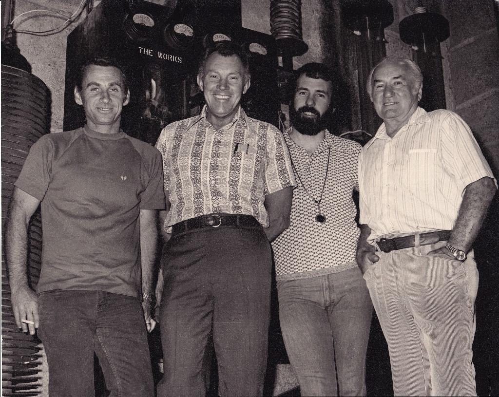Unk., John Ganther, Jim Plannette Gaffer, Sam Gordon, 1974 (photo submitted by Jim Plannette).